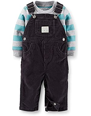Carter's Baby Boys' Overall & Striped Tee Set (NB, Grey)