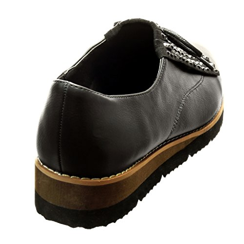 Angkorly - Scarpe da Moda Mocassini scarpa derby slip-on donna frange strass lacci Tacco zeppa 3.5 CM - Nero