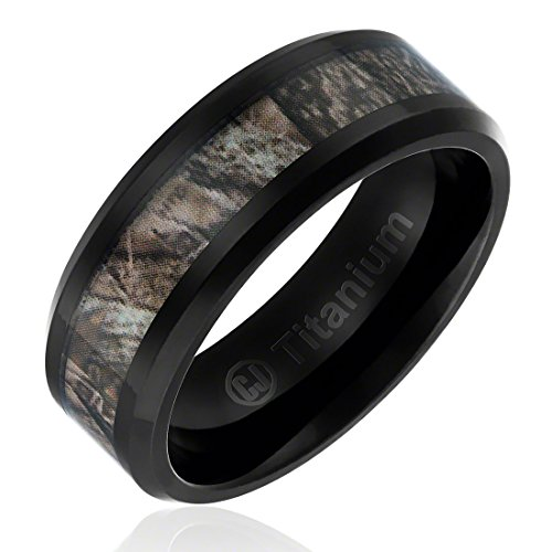 8MM Comfort Fit Titanium Hunting Ring | Black Plated Wedding Band with Camouflage Inlay | Beveled Edges [Size 11]