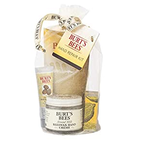 Burt's Bees Hand Repair Gift Set, 3 Hand Creams plus Gloves Almond Milk Hand Cream, Lemon Butter Cuticle Cream, Shea…
