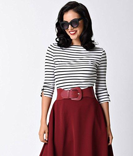 Banned Retro Black & White Stripe Three-Quarter Sleeve Modern Love Top