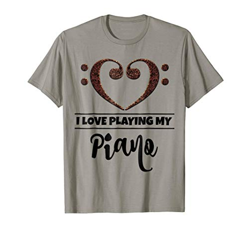 Double Bass Clef Heart I Love Playing My Piano Music Lover T-Shirt