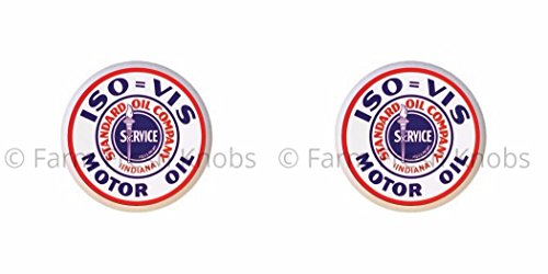 (SET OF 2 KNOBS - Iso-Vis Motor Oil Standard Oil Company Indiana - Vintage Gas Station Signs - DECORATIVE Glossy CERAMIC Cupboard Cabinet PULLS Dresser Drawer KNOBS)