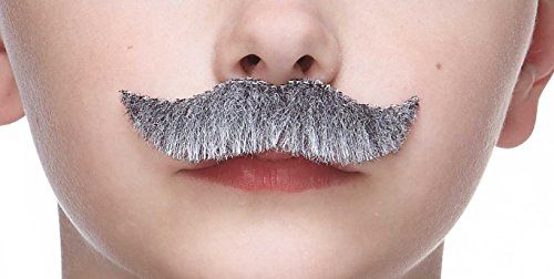 Mustaches Fake Mustache, Self Adhesive, Novelty, Small Trim Salesman False Facial Hair, Costume Accessory for Kids, Gray with White Color ()