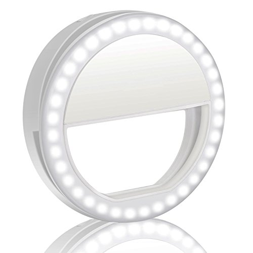 Selfie Light,WaterLuu Selfie Ring Light for Camera [Rechargable Battery] Selfie LED Camera Light [36 LED] for iPhone iPad Sumsung Galaxy Photography Phones (White) Christmas Lights Render