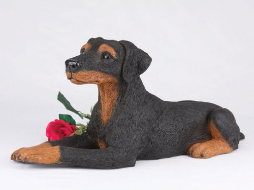 - Doberman Pincher Ears Down Black Cremation Pet Urn for secure installation of your beloved pet's ashes indoors or outdoors