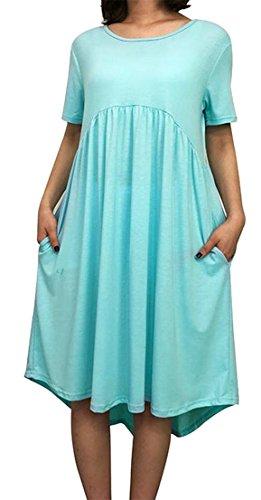 Delle Linguetta Manica T Pieghe Donne A shirt Battente Colore Breve Blu Abiti Delle Grande Solido Luce Molle wIdPzI6q