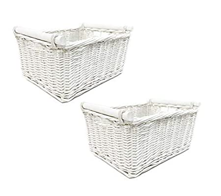 topfurnishing KITCHEN FIREPLACE LOG WICKER STORAGE BASKET WITH HANDLES XMAS EMPTY HAMPER BASKET Set of 2 Small, BROWN