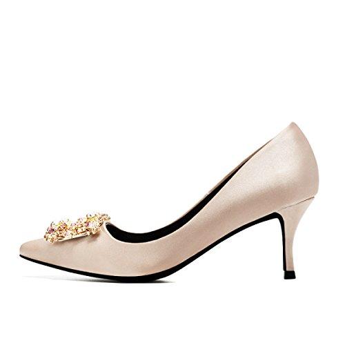 Womens Satin Smart Spitz Schuhe Abend Braut Pumps Damen Klassische High Heels Schuhe