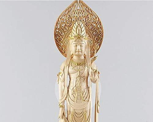 MD408稀少極美精品仏教工芸品 木彫仏教 木雕 仏像 精密彫刻 極上品 仏師で仕上げ品 観音菩薩立像 コレクション。