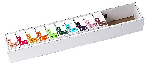 TAB Datafile Color-Coded Numeric Label Rolls, Complete Set 0-9, Full-size, 10-500 Label Rolls/Pack