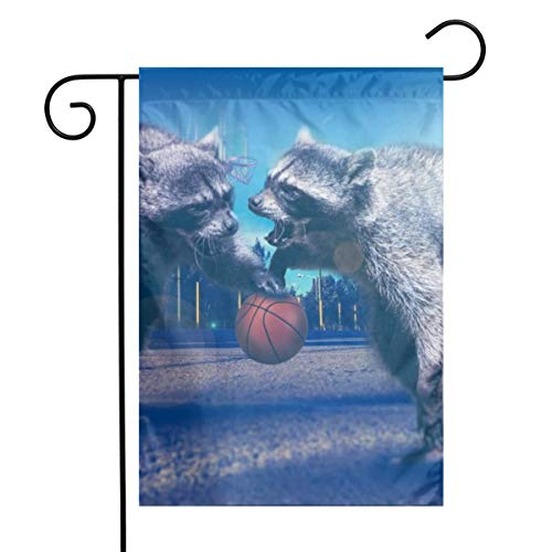 OLGCZM Raccoon Playing Basketball Home Flag,Weather Fade Resistant Garden Welcome Flags for Party Yard Outdoor Decor,12x18 Inches