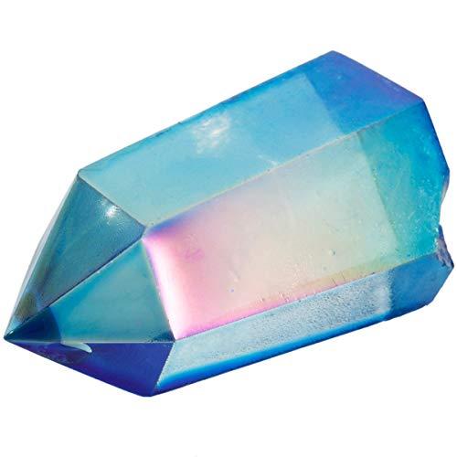 TUMBEELLUWA Healing Crystal Wands Quartz Points 6 Faceted Chakra Tumbled Stone Reiki Meditation Therapy,Rock Quartz,Blue Titanium Coated