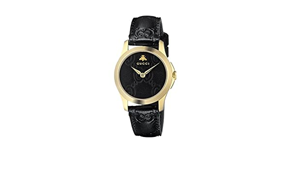 Amazon.com: Gucci Quartz Gold-Tone and Leather Casual Black Womens Watch(Model: YA126581): Watches
