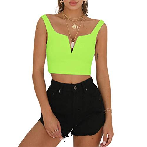 Susupeng Women Sexy Deep V Neck Sleeveless T Shirt Slim Crop Top Side Zip Casual Tank Tops (Medium, Fluorescent Green)