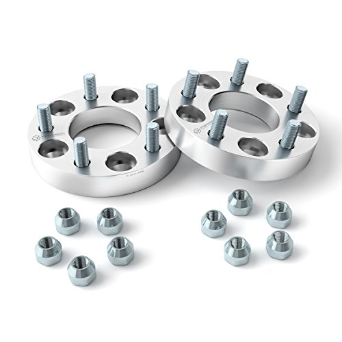 UberTechnic - (2) 25mm (1 inch) 5x4.5 to 5x4.5 Hubcentric Wheel Spacers (70.5mm Bore, SAE 1/2x20 Studs) Compatible with Ford Lincoln Mustang Edge Crown Vic Ranger Explorer Town Car Mark 7 (Wheel Aluminum Spacers)