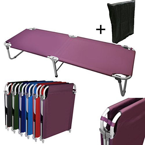 Price comparison product image Magshion Portable Military Fold Up Camping Bed Cot + Free Storage Bag- 5 Colors (Purple)