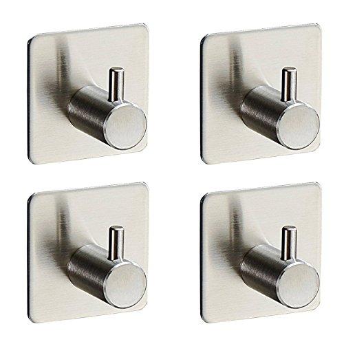 Adhesive Hooks, WensLTD Heavy Duty 3M Hooks Stainless Steel Waterproof Wall Hooks 4-pack (A)
