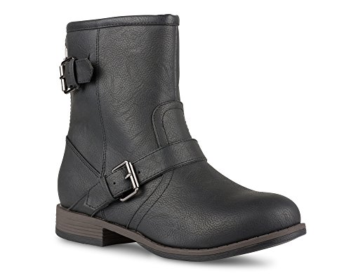 Twisted Women's Amira Short Buckle Strap Riding Boot - AMIRA68 Black, Size 10
