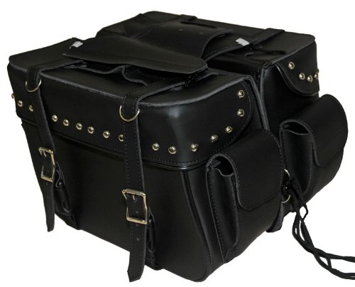 Leather Studded Motorcycle Saddlebags (Saddlebags 2 Strap Studded with Outside Pockets)