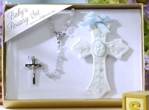 Baby's First Roasry Set with Rosary and Cross (Baby Boy - Blue)