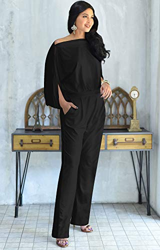 KOH KOH Womens Short Sleeve Sexy Formal Cocktail Casual Cute Long Pants One Piece Fall Pockets Dressy Jumpsuit Romper Long Leg Pant Suit Suits Outfit Playsuit, Black L 12-14 by KOH KOH (Image #3)