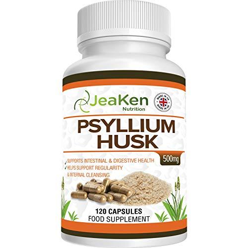 FLOHSAMENSCHALEN KAPSELN - Psyllium Husk Powder von Flohsamenschalen Geschrotet - Verdauungsenzym Präparate - Erhält die Magen-Darm-Gesundheit - 120 Überlegene Qualität Flohsamen Kapseln Vegane