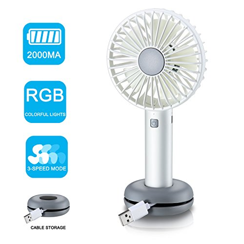 Handheld Fan,Rye-Tech Personal Portable Cooling Desk Fan USB Rechargeable Fan with 2000mAh Capacity RGB LED Light 3 Speeds for Office Room Household Traveling