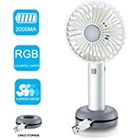 Rye-Tech Handheld Fan, Personal Portable Cooling Desk Fan USB Rechargeable Fan with 2000mAh Capacity RGB LED Light 3 Speeds for Office Room Household Traveling