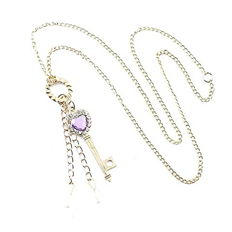 2 PCS Fashion Jewelry Necklace Long Chain Pendent Sweater Collar Bib Choker Collier Golden Rhinestones Key - Crown Rhinestone Collar Charm