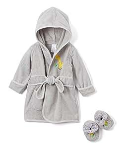 Spasilk - Albornoz con capucha y patucos, 100% algodón, color gris, Grey Giraffe, Una talla