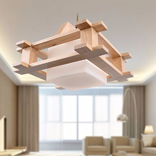 HQLCX Chandelier Nordic Wood Chandelier Simple Modern Bedroom Lamp Chandelier Log Tatami Restaurant by HQLCX-Chandeliers