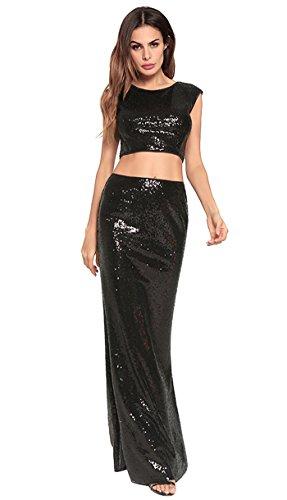 vestido Black mujer noche de vestido la de fiesta FOLOBE de lentejuelas gwqIRqC4