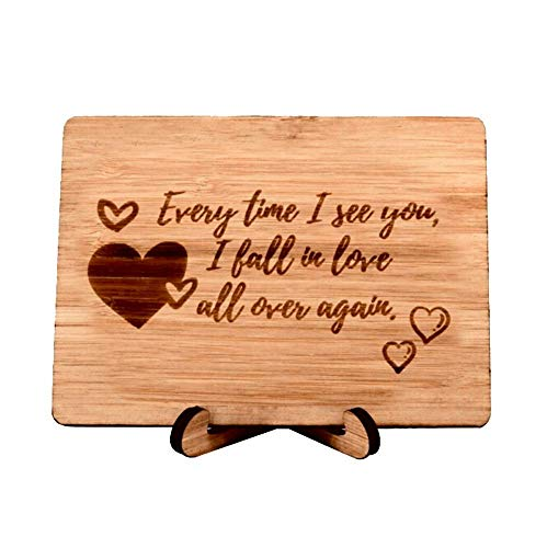 Zuaart Love Greeting Card Handmade With Real Bamboo Wood and Stand- Every time i see you i fall in love all over again - Perfect for love