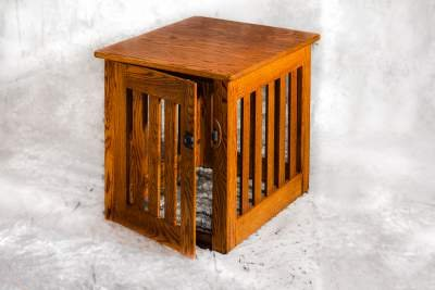 Amish Made Wood Dog Crate – Heavy Duty Wood Bars-Resistant Wooden Kennel End Table Large 34 x 23 x 24 inches - Oak