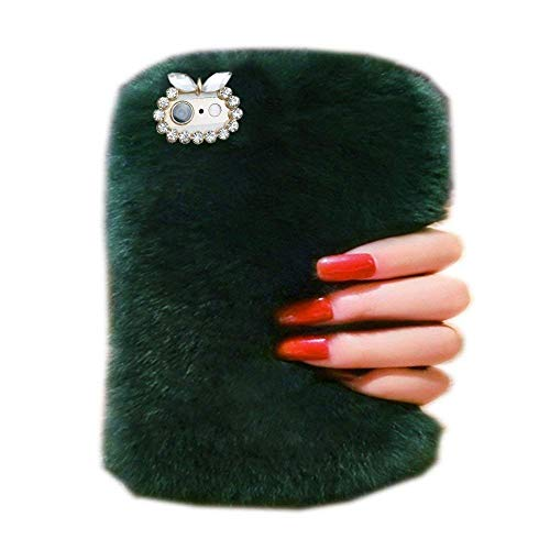 Case for Fire HD 7 (2014 Oct Release),Bling Rhinestone Fuzzy Faux Rabbit Furry Fluffy Beaver Rex Rabbit Fur Protective Case for Amazon Fire HD 7 (4th Generation) 2014 model(Dark - Fire Case 2014 Bling Hd 7 Kindle