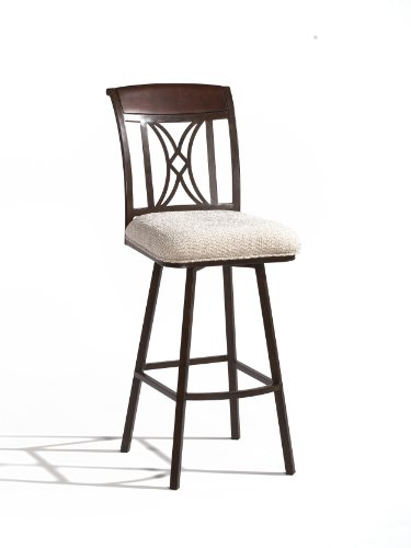 Chintaly Imports Memory Return Swivel Bar Stool, Autumn Rust/Beige Fabric Upholstery
