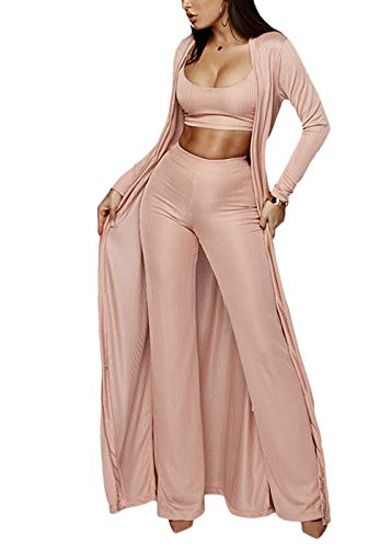 Cosygal Women's Crop Top Cardigan and Wide Leg Long Palazzo Pants Jumpsuit Romper Set Pink ()