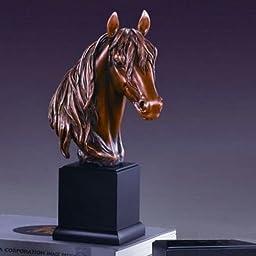 Large Long Mane Horse Head Sculpture Bronze Color Resin 14.5\