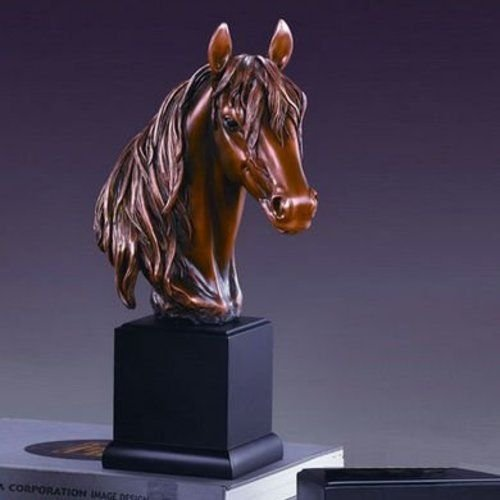 Large Long Mane Horse Head Sculpture Bronze Color Resin 14.5'' Tall