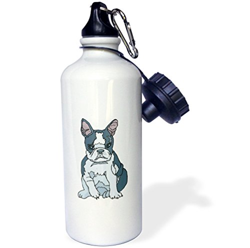 "3dRose wb_128998_1″Cute and Cuddly Canine French Bulldog Pup"" Sports Water Bottle, 21 oz, White"