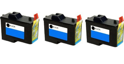 3 Pack (BLACK ONLY) Remanufactured (Series 2) DELL 7Y743 Black Ink Cartridges for Dell A940 and A960 Printers