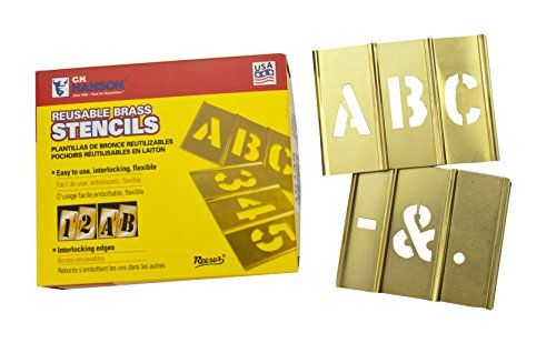 (CH Hanson 10033 3 inch Brass Letter 33 Piece Interlocking Stencil Set)