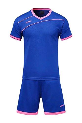 ヒープ反発するとんでもないKINDOYO ボーイズ メンズ スポーツウェア サッカー服 Tシャツ&ショーツパン セット トレーニング コンペ スポーツ コスチューム すべてのサイズ, ダークブルー/S-ボーイズ