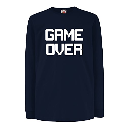 T-Shirt For Kids Game Over! Vintage t Shirts Funny Gamer Gifts Gamer Shirt (5-6 Years Blue White)