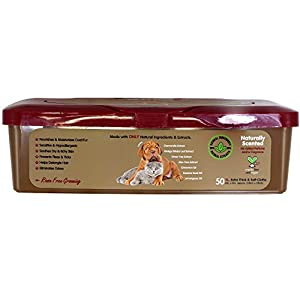 SofiesSecret XL PET WIPES, All In One Grooming, Tub, 50 Count, for Paws, Coat, Skin, Face, Ears and Teeth, 100% Natural & Organic Extracts, Extra Thick, Extra Large Cruelty Free and Vegan