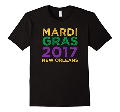 [Men's Mardi Gras 2017 New Orleans Vintage Distressed Gift T-Shirt 2XL Black] (Mardi Gras Outfit Ideas)