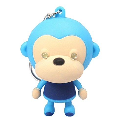 Kids Pendant Lighting (Little rock Cartoon Monkey Animal LED Lighting with Sound Keyring Keychain Pendant Girls)