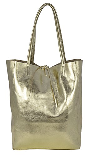 Lavorazione Borse Made Donna Artigianale Oro Shopper In Italy Pelle Vera Tote Ambra xqzAHnwCx