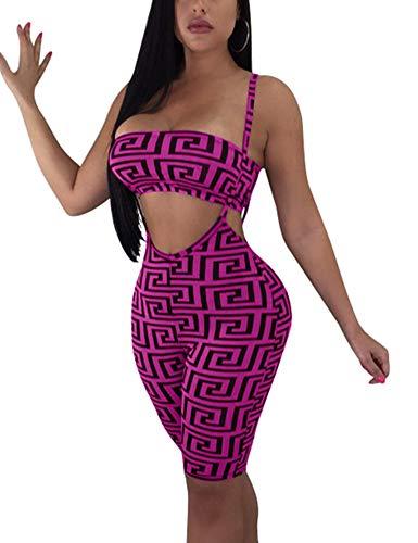 BORIFLORS Women's 2 Piece Outfits Sexy Crop Top Straps Shorts Pants Bodycon Jumpsuit Set,X-Large,Purple -